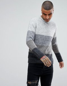 Read more about Asos knitted mohair wool blend jumper with colour block design - grey
