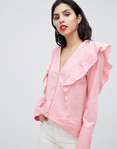 Read more about Vila ruffle shoulder blouse - pink