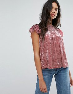 Read more about Hazel crushed velvet top with lace yolk - dusty pink