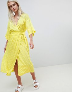 Read more about Moss copenhagen kimono sleeve maxi dress in spot print - bright lime