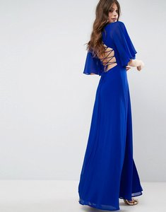 Read more about Asos strappy back flutter sleeve maxi dress - blue