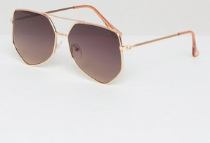 Read more about Asos metal angular aviator sunglasses in rose gold - gold