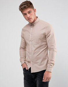 Read more about Asos casual stretch slim oxford shirt in pink - dusty pink