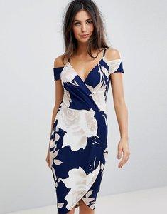 Read more about Ax paris floral print wrap pencil dress with cold shoulder - navy base