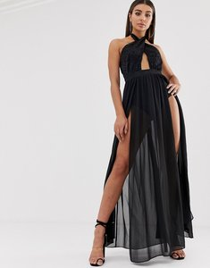 Read more about Lasula cross front maxi dress with double thigh split in black
