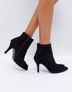Read more about Glamorous black ruffle heeled ankle boots - black