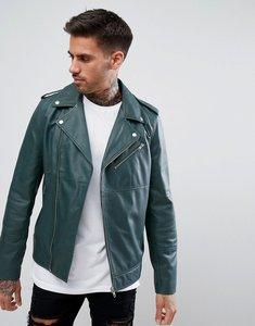 Read more about Asos design leather asymmetric biker jacket in bottle green - bottle green
