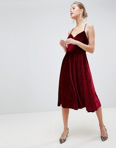 Read more about Traffic people velvet skater dress with strappy back - maroon