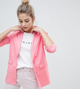 Read more about Daisy street longline blazer in pinstripe - pink pinstripe