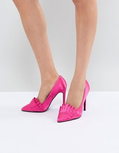 Read more about Lost ink bright pink ruffle heeled shoes - bright pink