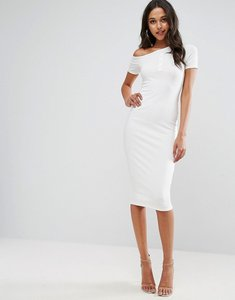 Read more about Asos midi popper placket one shoulder bodycon dress - cream