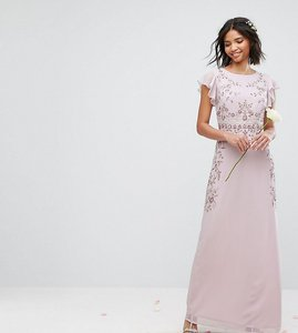 Read more about Maya maxi dress with frill sleeve and placement embellishment - lilac