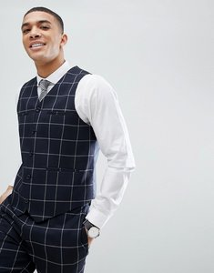 Read more about Asos wedding skinny suit waistcoat in navy windowpane check - navy