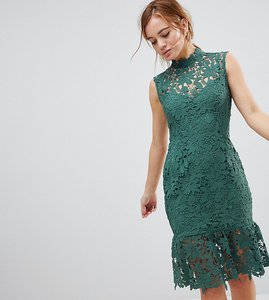Read more about Paper dolls petite high neck lace dress with peplum hem - sage
