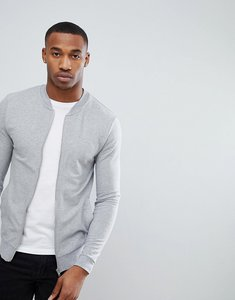 Read more about Asos muscle bomber jacket in grey - grey marl