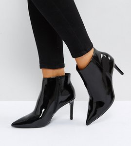 Read more about Asos emberly wide fit pointed ankle boots - black patent