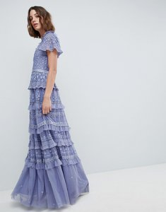 Read more about Needle thread high neck layered maxi dress - lavender
