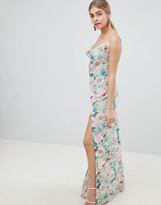 Read more about Prettylittlething floral maxi dress with side split - green