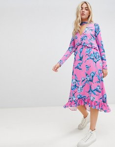 Read more about Asos design slinky midi dress with choker neck and frill details in floral print - floral print