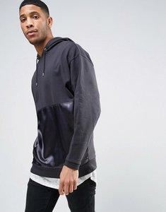 Read more about Asos oversized longline hoodie with satin panel - black