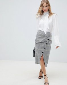 Read more about Asos design wrap pencil skirt in check with buttons - multi