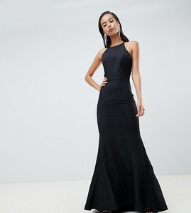 Read more about Jarlo tall open button back fishtail maxi dress hem in black