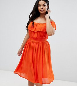Read more about Brave soul plus petal midi dress with frill bardot - red