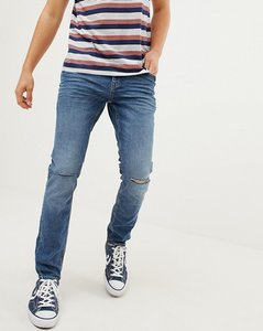 Read more about Esprit stretch skinny fit jeans in vintage wash blue with knee rips - blue