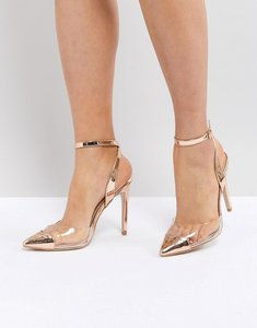 Read more about Public desire heart throb rose gold clear detail court shoes - rose gold perspex