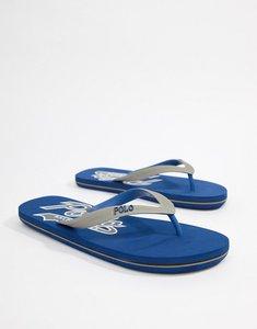Read more about Polo ralph lauren wittlebury flip flops logo in blue grey - sapphire star