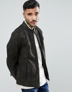 Read more about Goosecraft austin distressed leather jacket in grey - brown