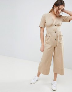 Read more about Asos design cotton tea jumpsuit with horn button detail - brown