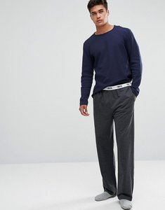 Read more about Asos straight leg jersey pyjama bottom with branded waistband - charcoal