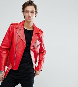 Read more about Reclaimed vintage inspired real leather biker jacket - red
