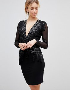 Read more about Girls on film sequin dress with plunge neck and tassel detail - black