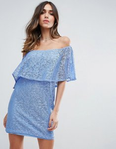 Read more about Asos off shoulder lace mini shift dress with frill detail - soft blue