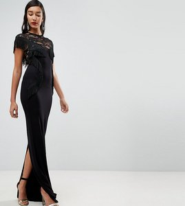 Read more about Asos tall lace maxi dress with fringing - black