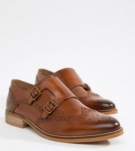 5e226f022a9bf8 Read more about Asos design wide fit monk shoes in tan leather with natural  sole -