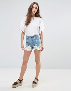 Read more about Love other things floral embriodered denim shorts - blue