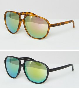 Read more about Asos 2 pack plastic aviator sunglasses with flash lens - multi