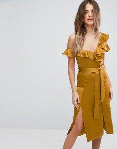 Read more about Lavish alice gold satin asymmetric frill midi dress - gold