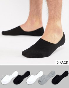 Read more about Asos invisible socks in monochrome 5 pack - multi
