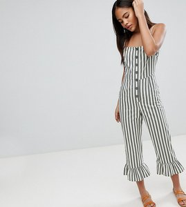 Read more about Asos design tall cotton frill hem jumpsuit with square neck and button detail in stripe - khaki stri