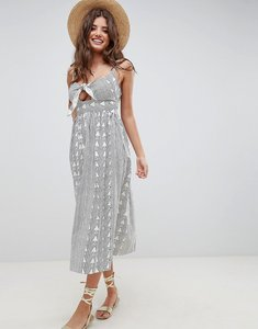 Read more about Asos design tie front maxi dress in aztec print - multi