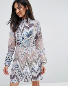 Read more about Ax paris high neck ruffle front multi print dress - multi