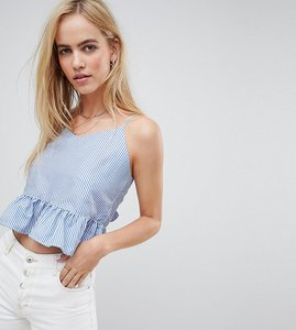 Read more about Daisy street cami smock top with tie back and peplum hem in chambray stripe - blue white stripe
