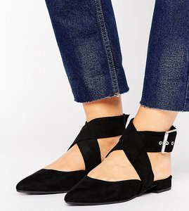Read more about New look wide fit suedette ankle tie pointed shoe - black