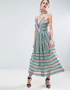 Read more about Asos salon lace placed multi strap back midi prom dress - multi