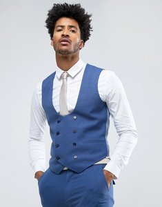 Read more about Asos wedding super skinny suit waistcoat in bright blue micro texture - bright blue