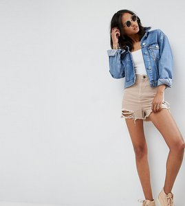 Read more about Asos tall denim side split shorts in nude pink with shredded rips - pink